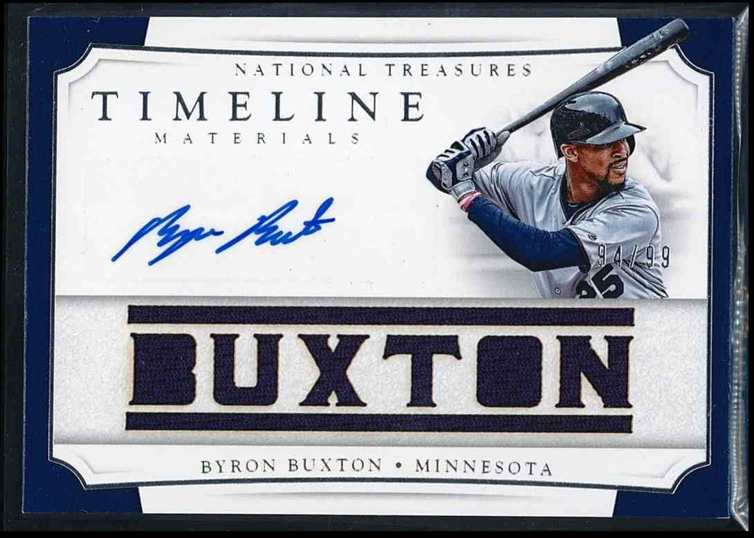2017 Panini National Treasures Timeline Materials Byron Buxton #TMSN-BB card front image