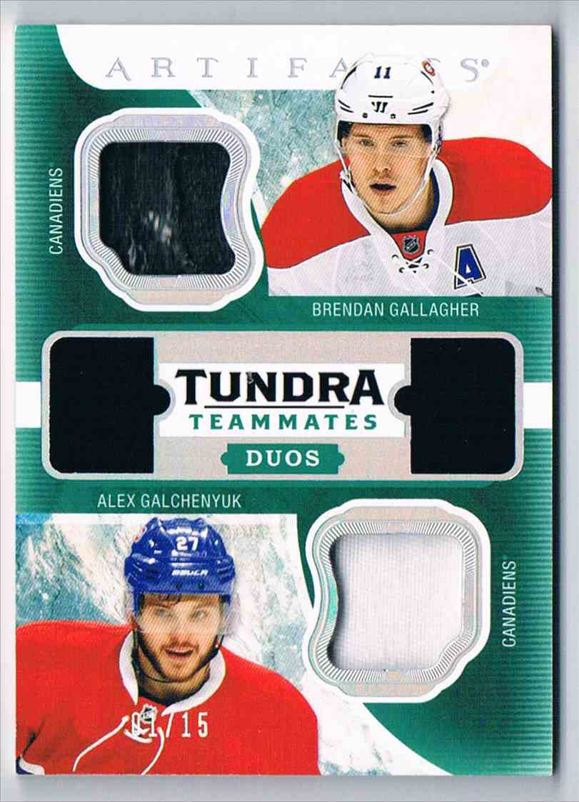 2016-17 Upper Deck Artifacts Tundra Teammates Duos Materials Spectrum Brendan Gallagher/Alex Galchenyuk #T2-HABS card front image