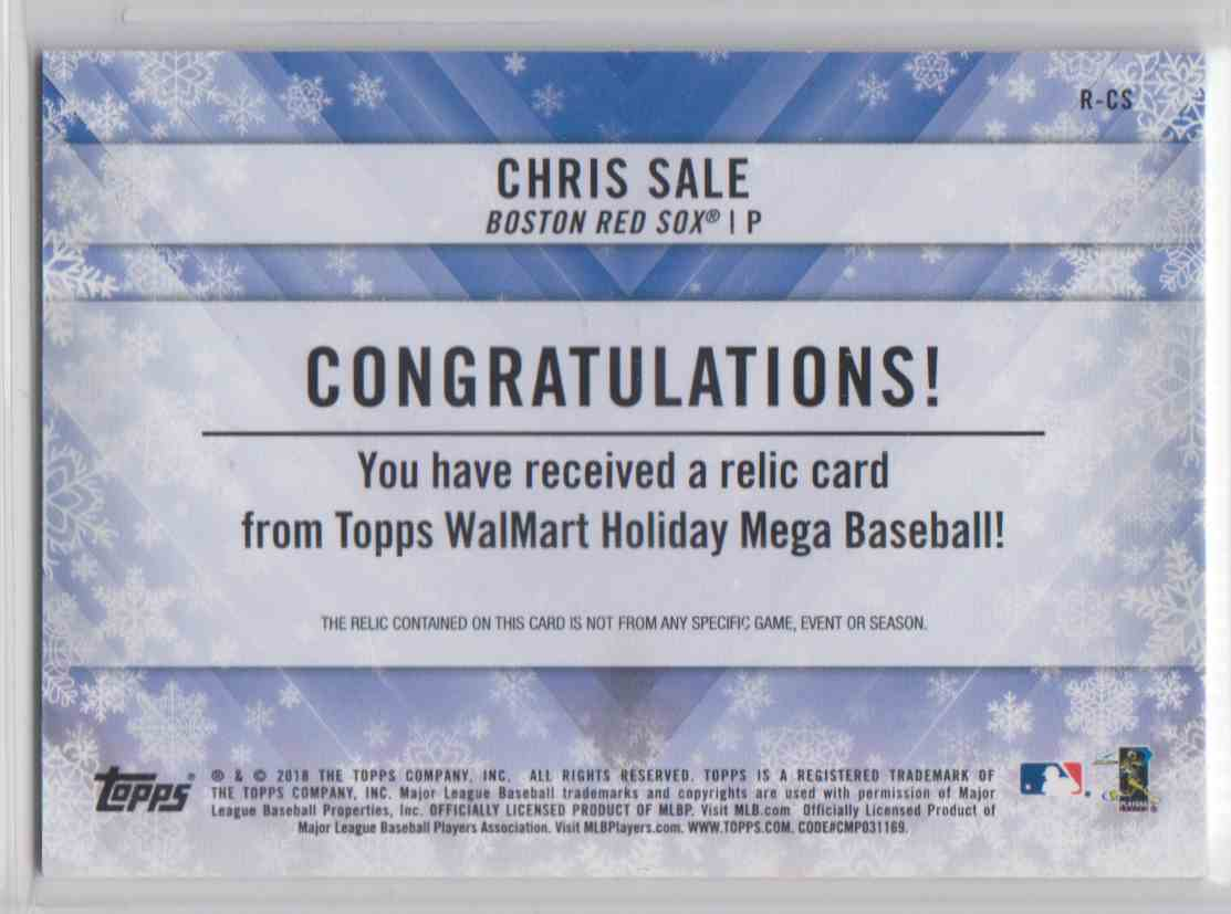 2018 Topps Walmart Holiday Snowflake Relic Chris Sale #R-CS card back image