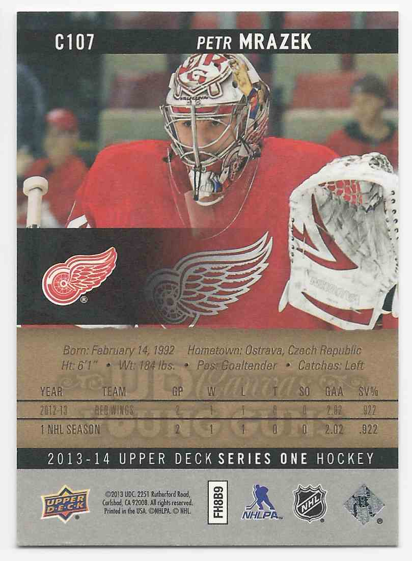 2013-14 Upper Deck Canvas Petr Mrazek #C107 card back image