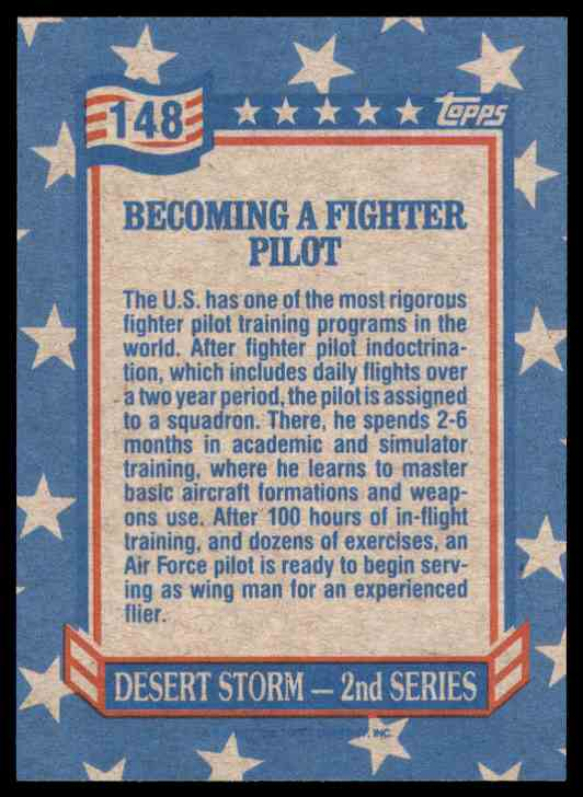 1991 Desert Storm Topps Becoming A Fighter Pilot #148 card back image