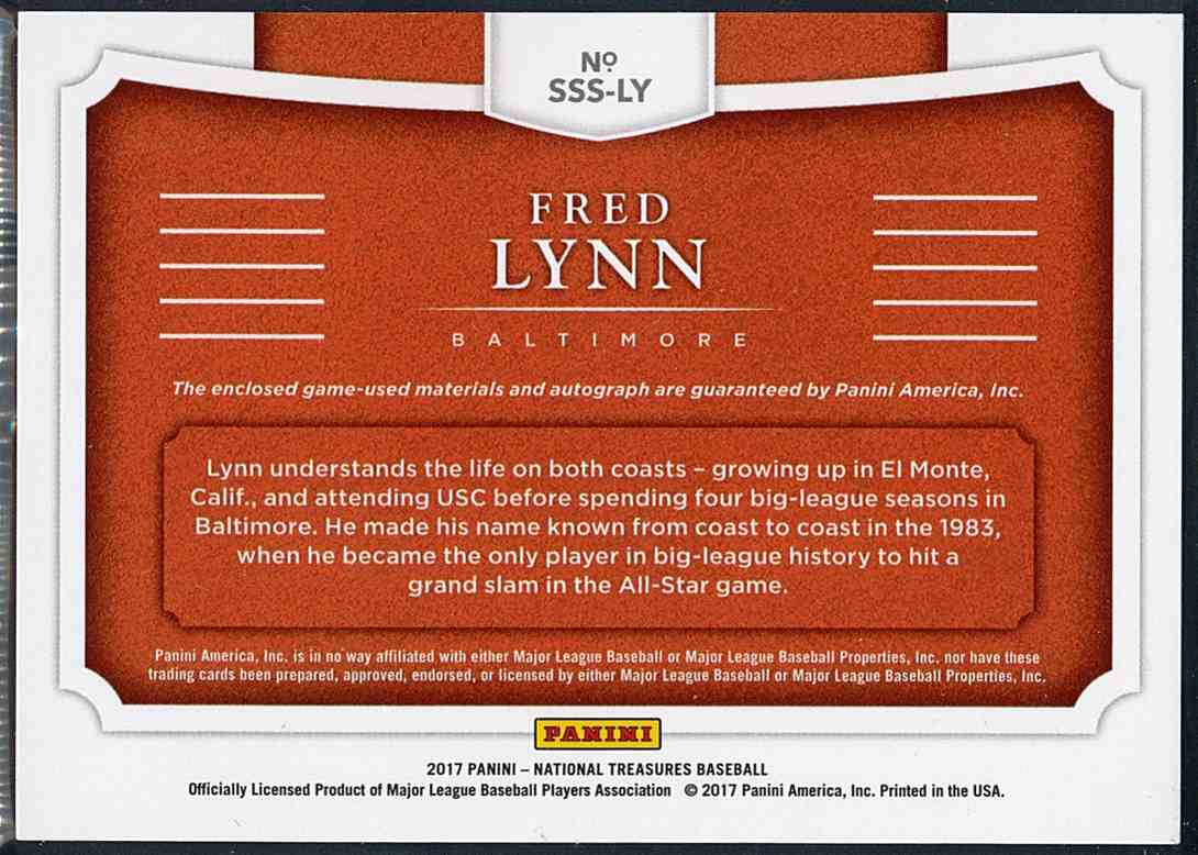 2017 Panini National Treasures Fred Lynn #SSS-LY card back image