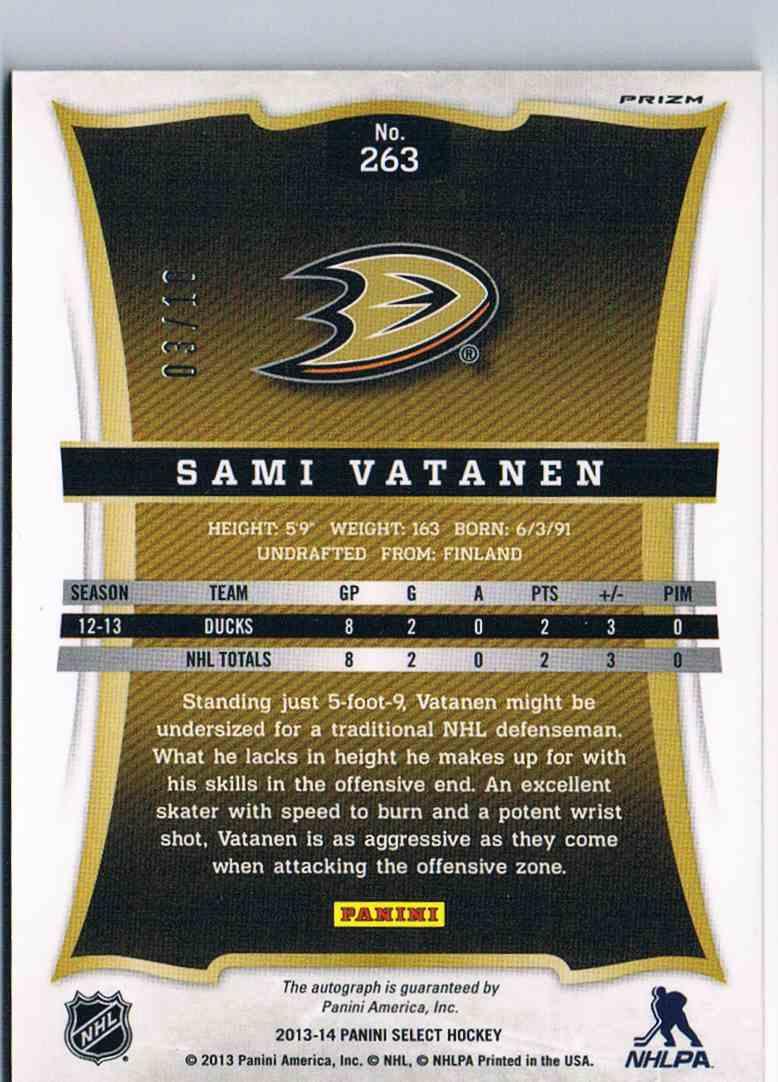 2013-14 Panini Select Autograph Gold Prizm Sami Vatanen #263 card back image
