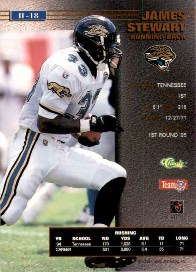 1995 Pro Line Series 2 James O. Stewart #18 card back image