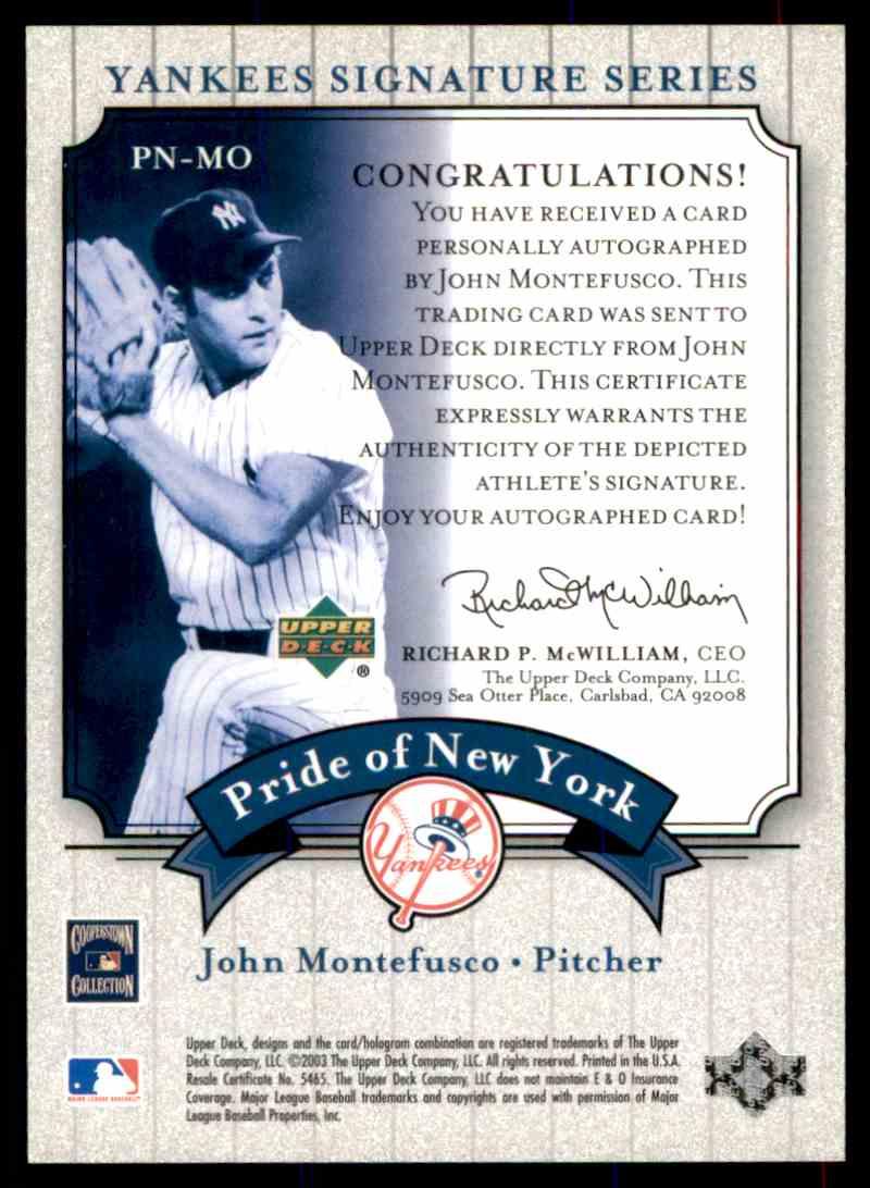 2003 Upper Deck Yankees Siganture Series John Montefusco card back image
