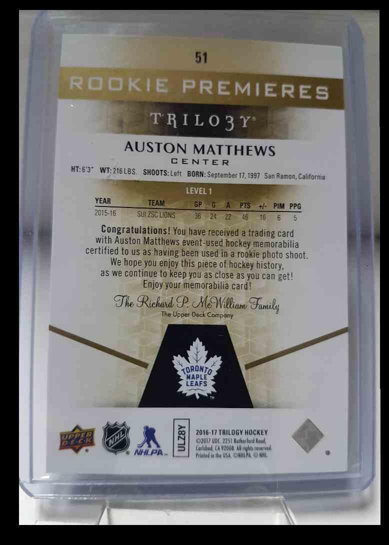 2016-17 Upper Deck Trilogy Rainbow Green Auston Matthews 062/399 #51 card back image