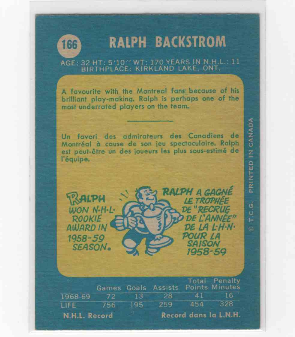 1969-70 O-Pee-Chee Ralph Backstrom #166 card back image