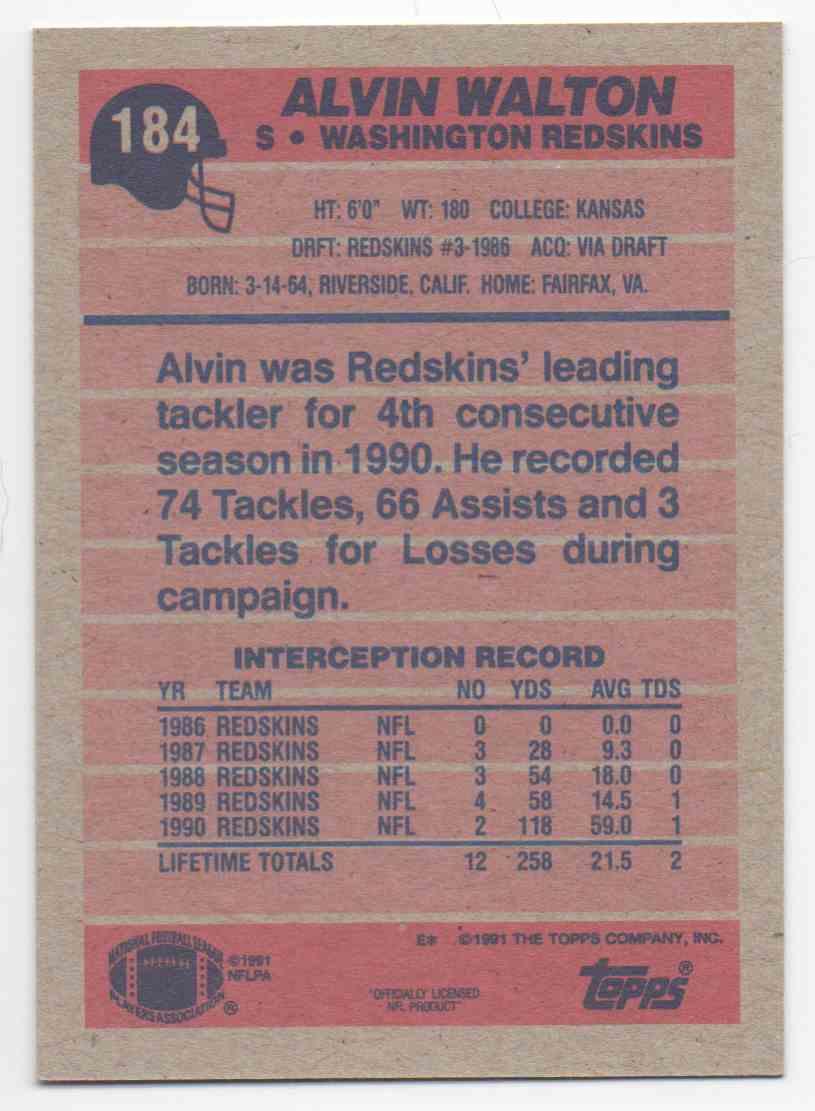 1991 Topps Alvin Walton #184 card back image