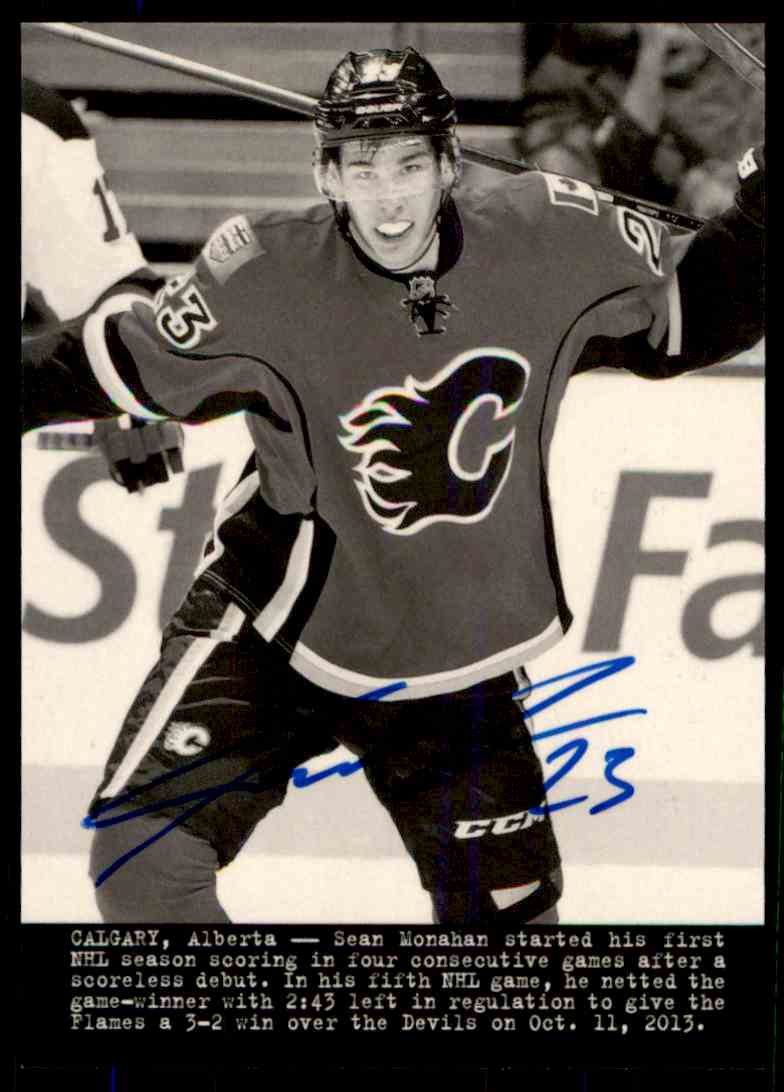 2014-15 Upper Deck Masterpieces Wire Photo Sean Monahan #195 card front image