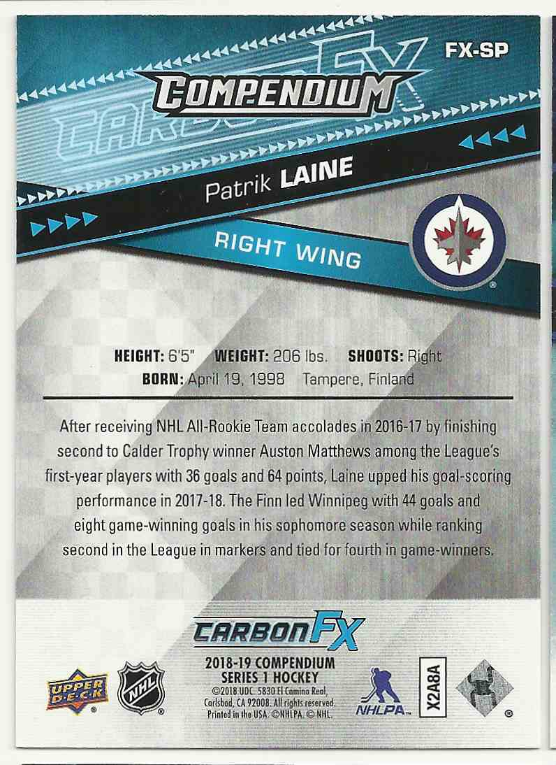 2018-19 Upper Deck Compendium Carbon Fx Patrik Laine #FX-SP card back image