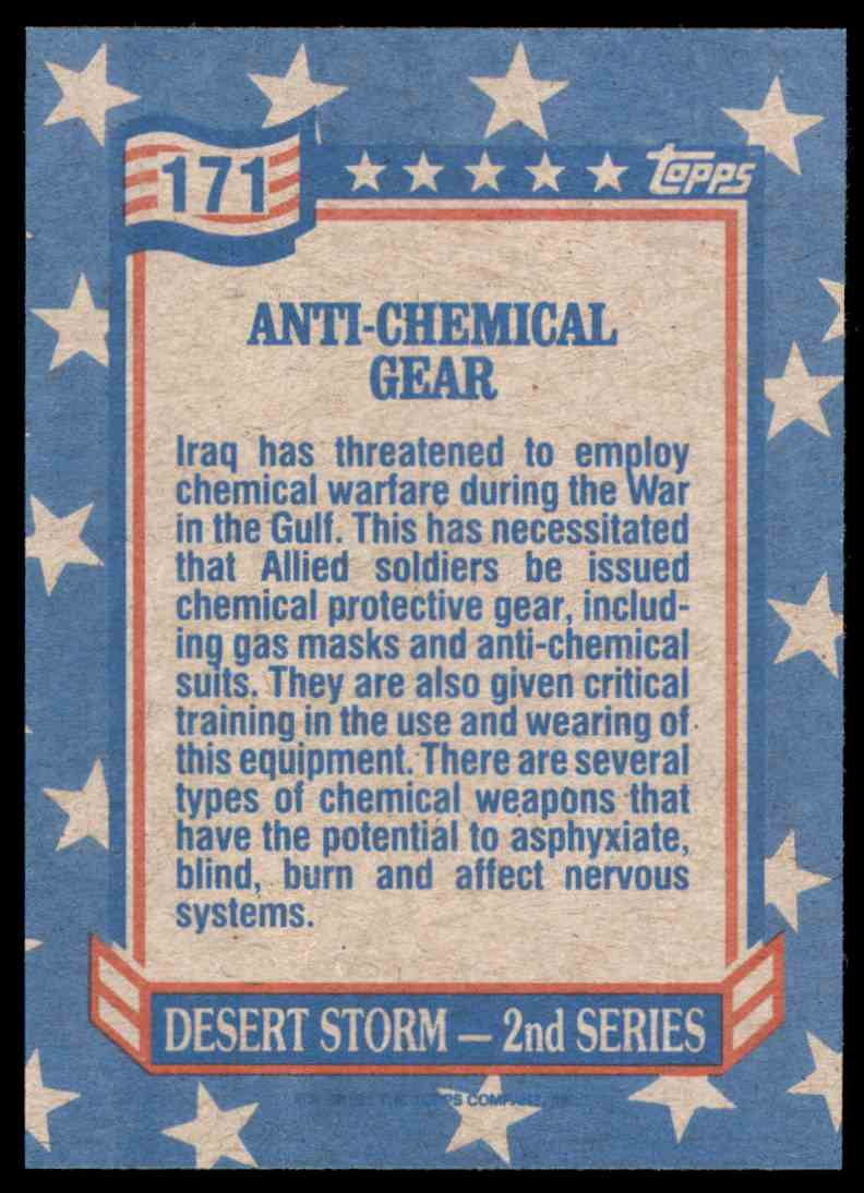 1991 Desert Storm Topps Anti-Chemical Gear #171 card back image