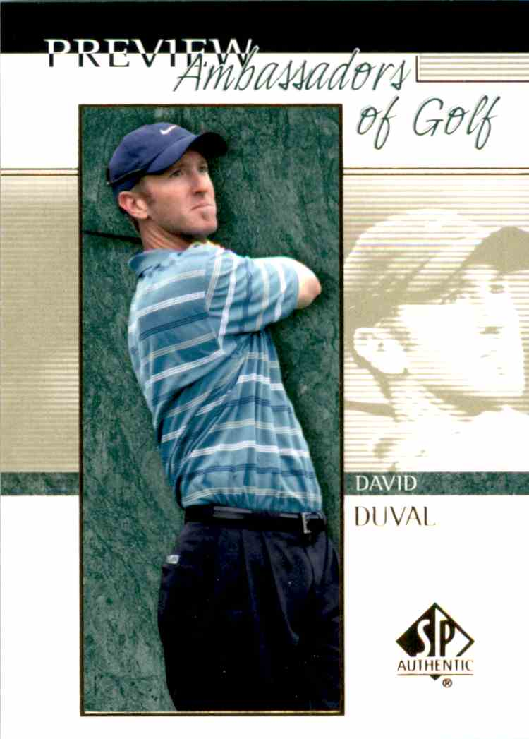 2001 SP Authentic Preview David Duval Ag #57 card front image