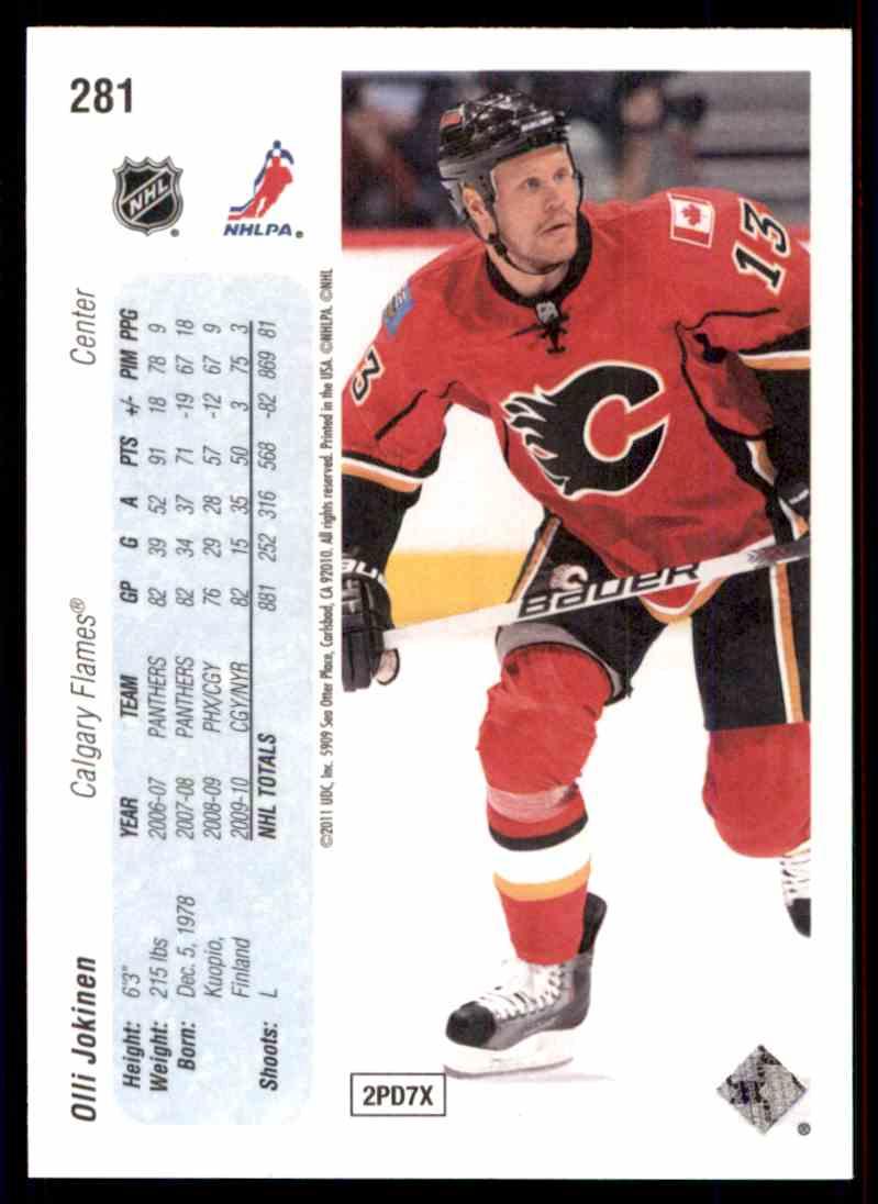 2010-11 Upper Deck 20th Anniversary Parallel Olli Jokinen #281 card back image