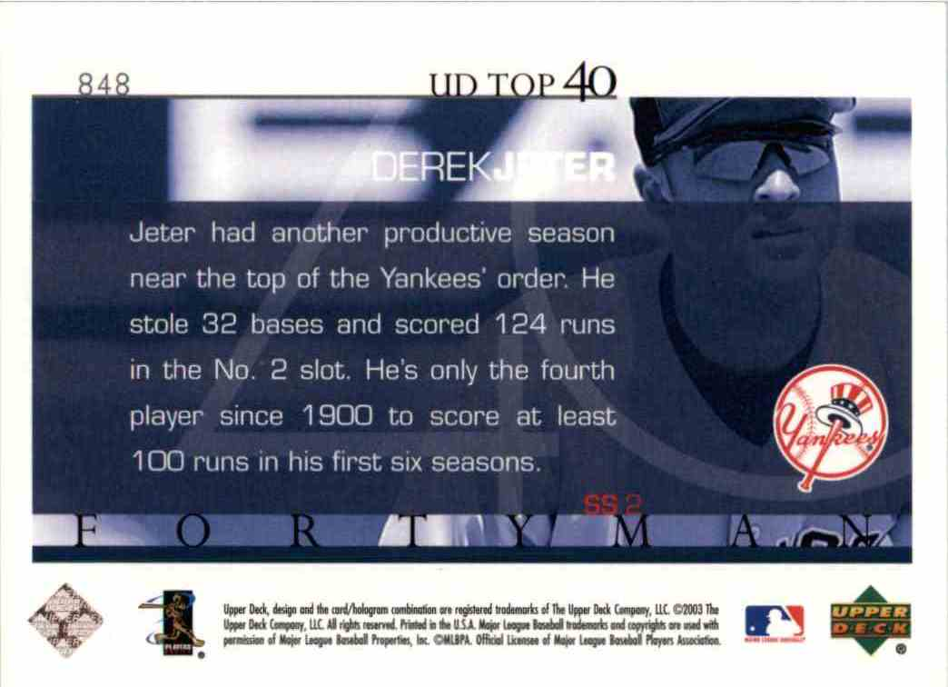 2003 Upper Deck Derek Jeter #848 card back image
