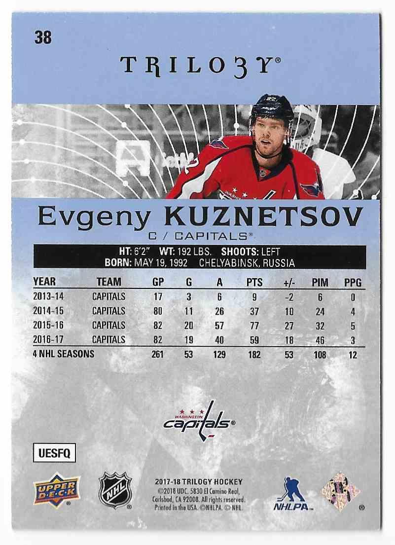 2017-18 Upper Deck Trilogy Evgeny Kuznetsov #38 card back image