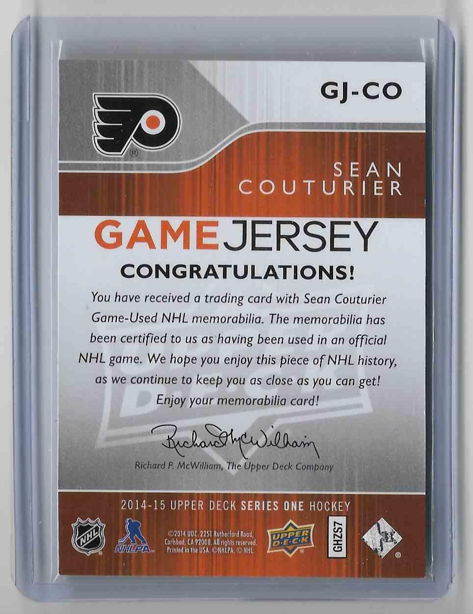 2014-15 Upper Deck Sean Couturier #GJ-CO card back image