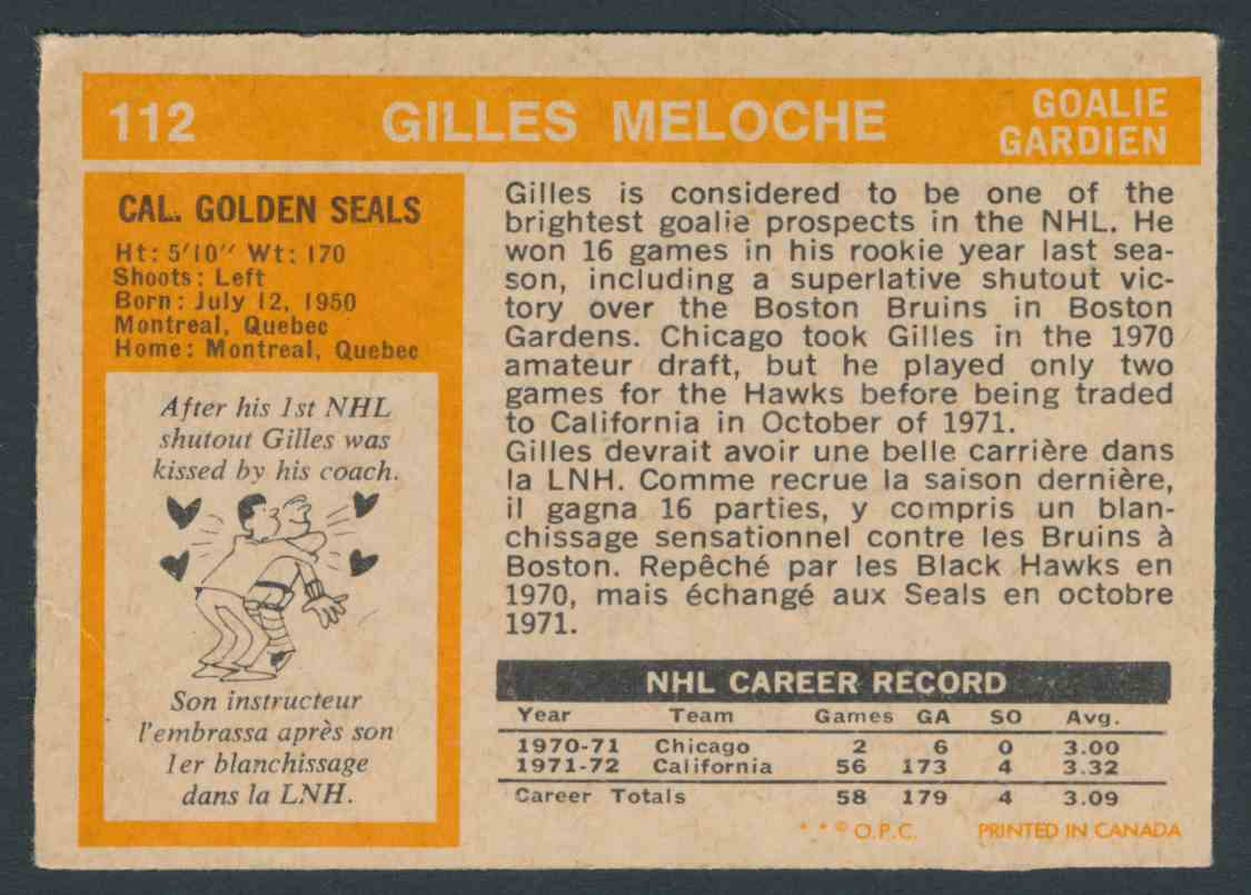 1972-73 O-Pee-Chee Gilles Meloche #112 card back image