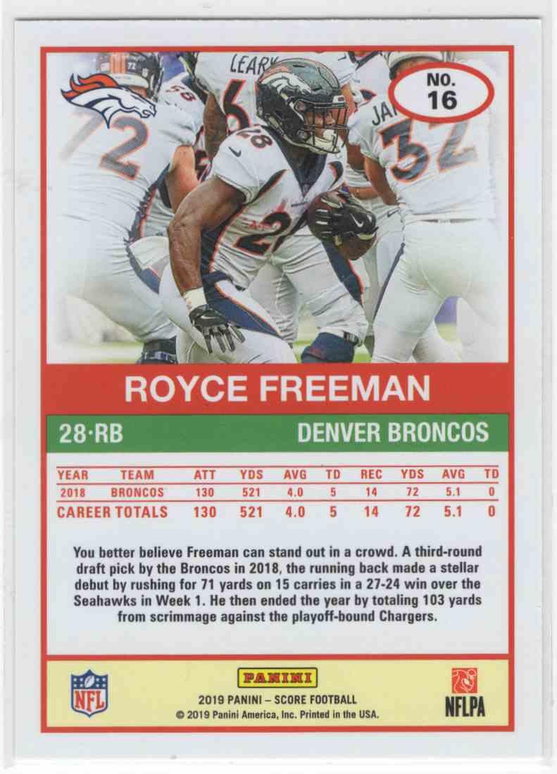 2019 Panini Score Royce Freeman #16 card back image