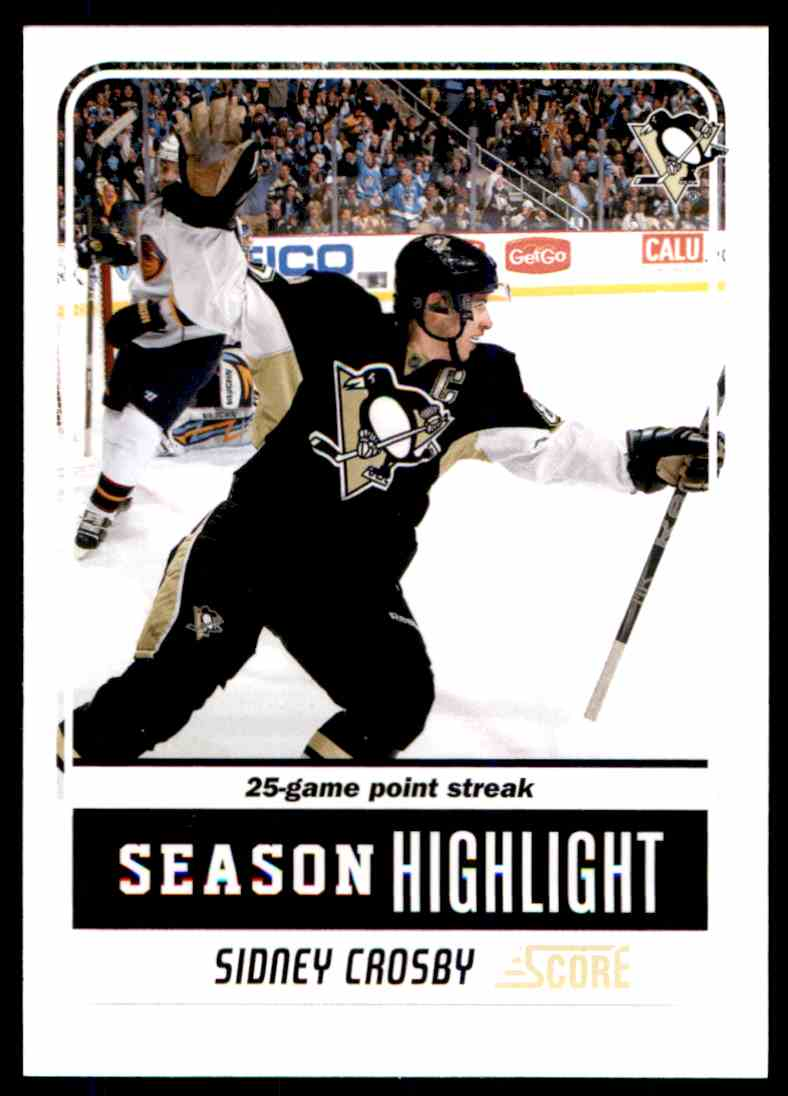 2011-12 Score Sidney Crosby #9 card front image
