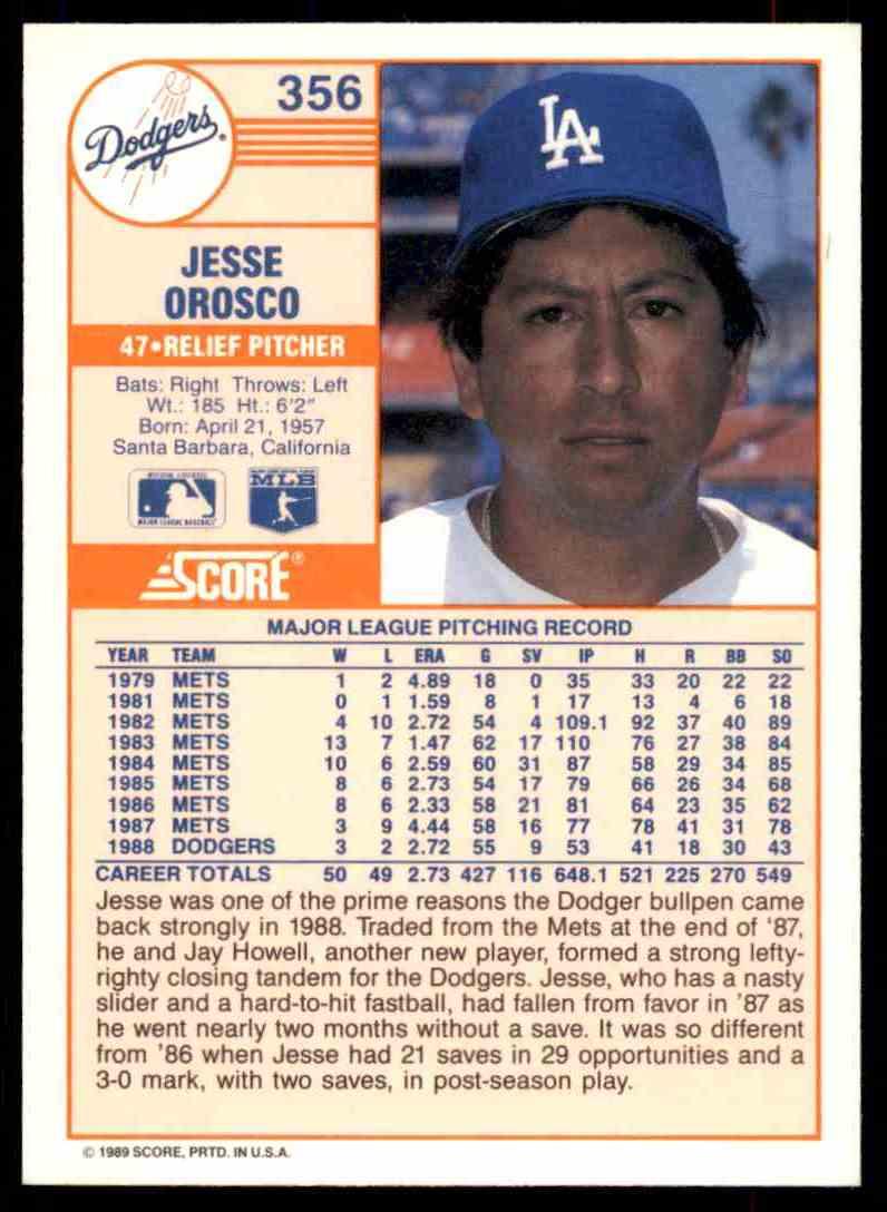 1989 Score Regular Jesse Orosco #356 card back image