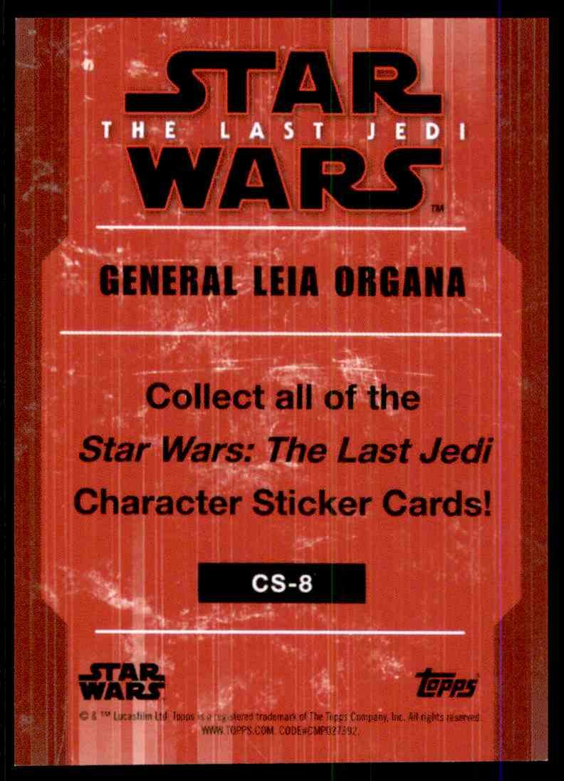 2018 Star Wars The Last Jedi Character Stickers General Leia