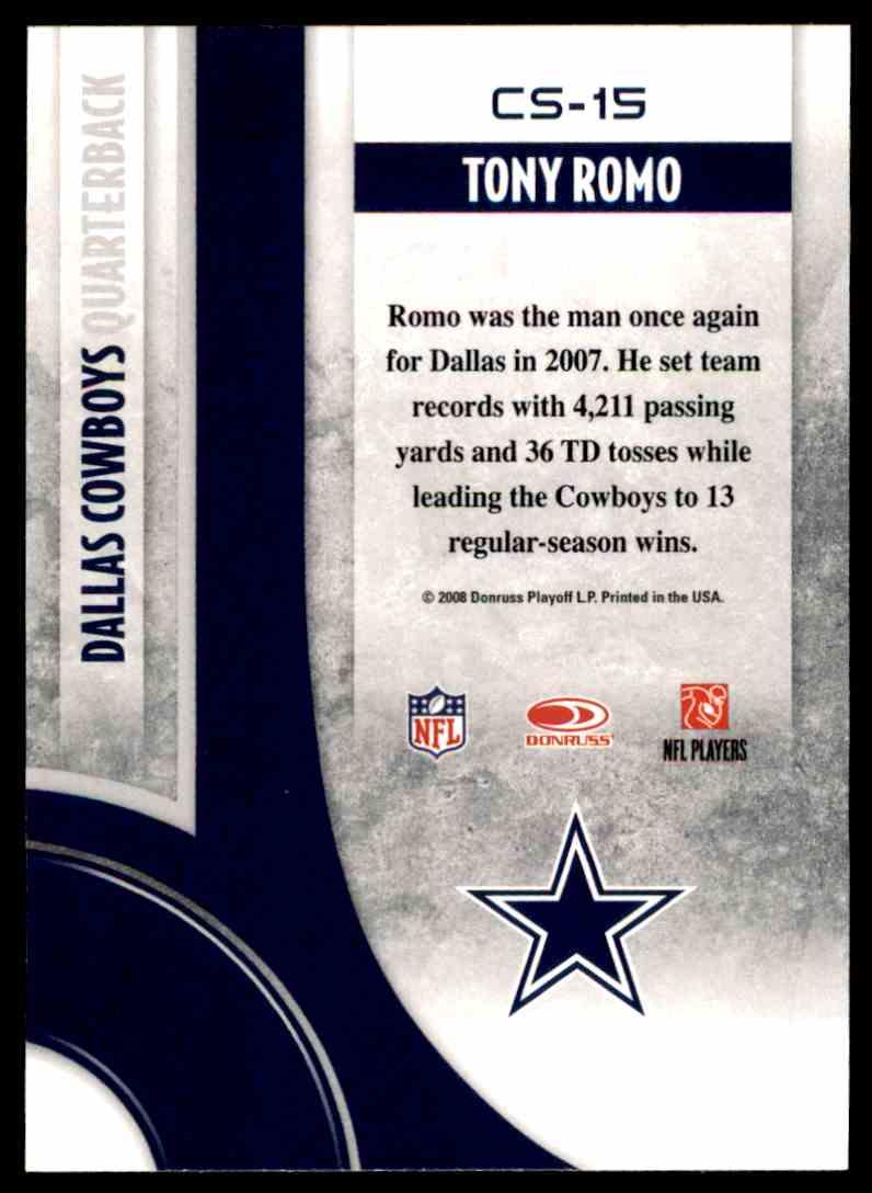 2008 Donruss Threads Century Stars Tony Romo #CS-15 card back image