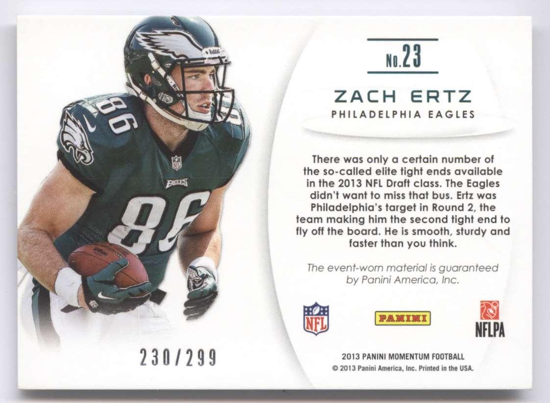2013 Panini Momentum Upside Jumbo Relics Zach Ertz #23 card back image