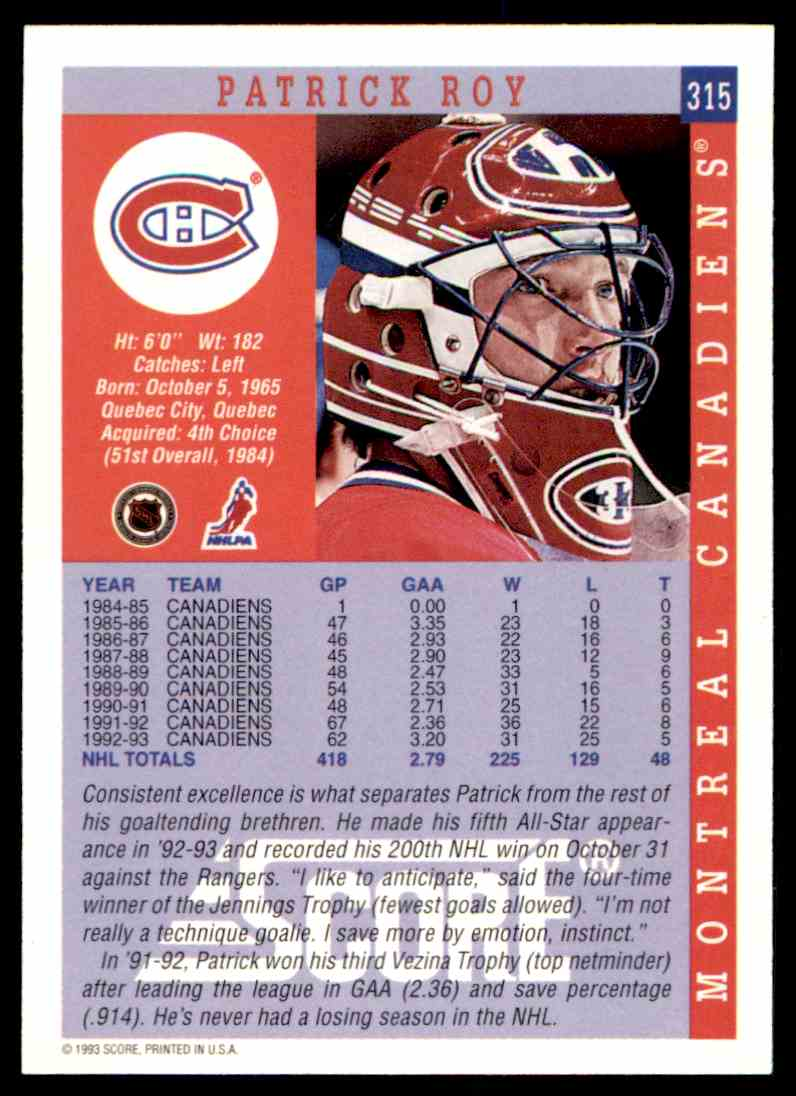 1993-94 Score Patrick Roy #315 card back image