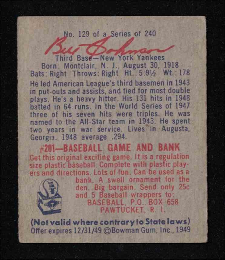 "1949 Bowman Bill ""The Bull"" Johnson Ny Yankees EX-MT #129 card back image"