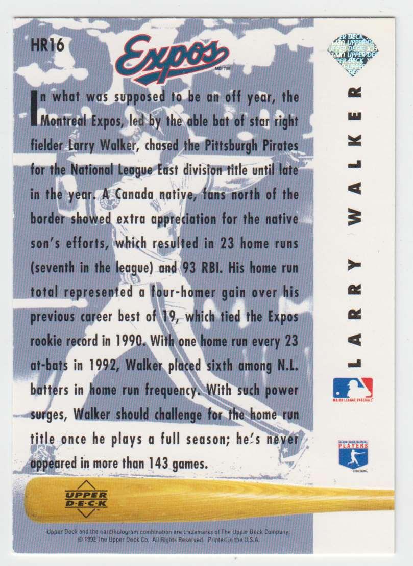 1993 Upper Deck Home Run Heroes Larry Walker #HR16 card back image
