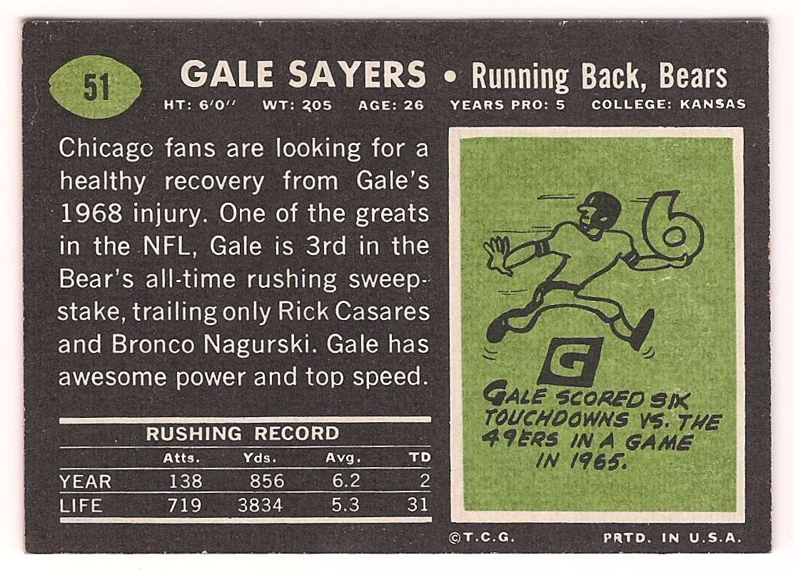 1969 Topps Gale Sayers #51 card back image