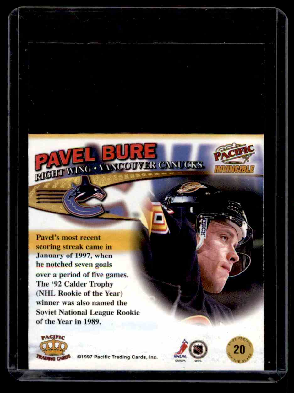 1997-98 Pacific Invincible Off The Glass Pavel Bure #20 card back image
