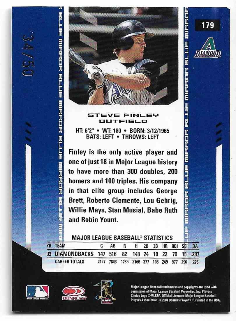 2004 Leaf Certified Materials Steve Finley #179 card back image