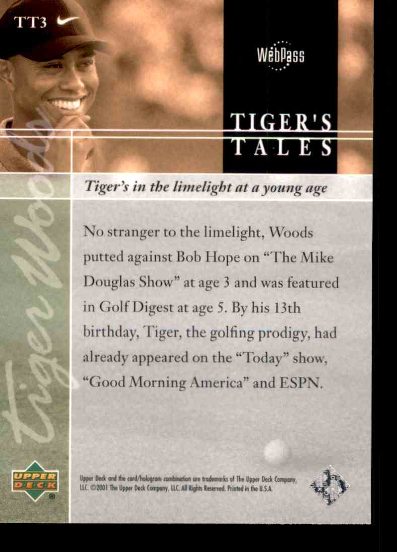 2001 Upper Deck Tiger's Tales Tiger Woods #TT3 card back image