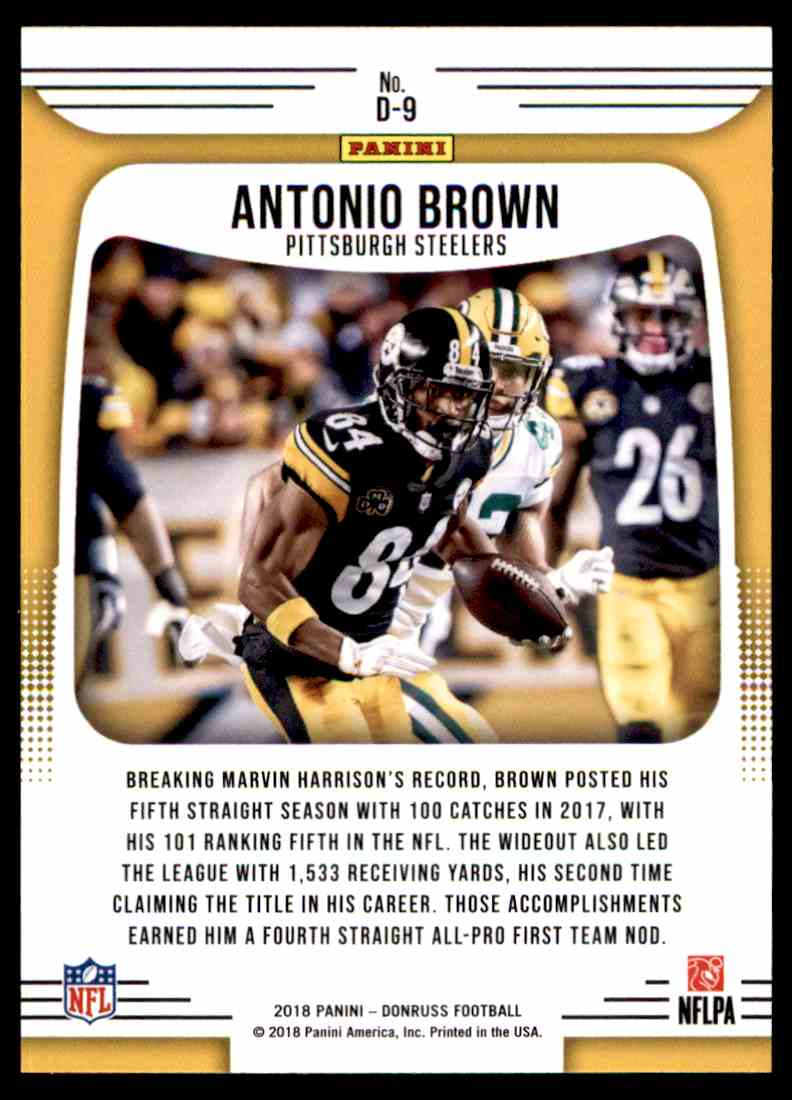 2018 Donruss Dominators Antonio Brown #D-9 card back image