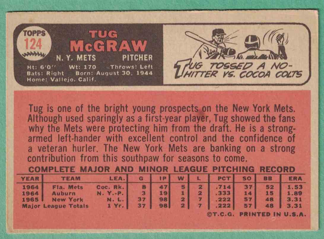 1966 Topps Tug McGraw EX off center #124 card back image