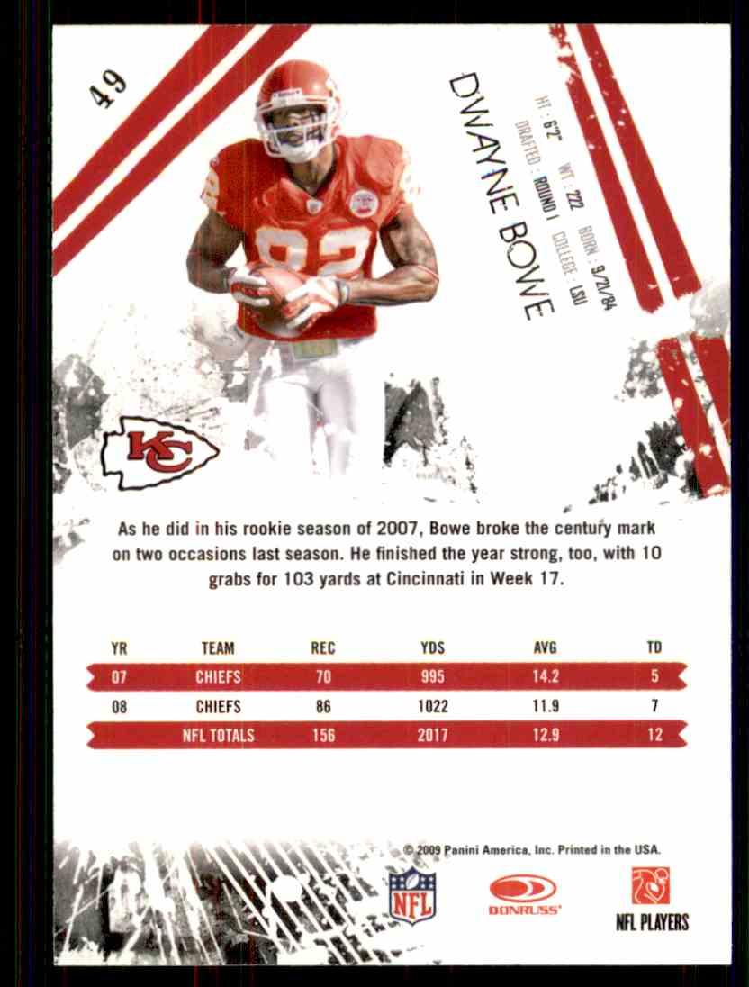 2009 Rookies & Stars Dwayne Bowe #49 card back image