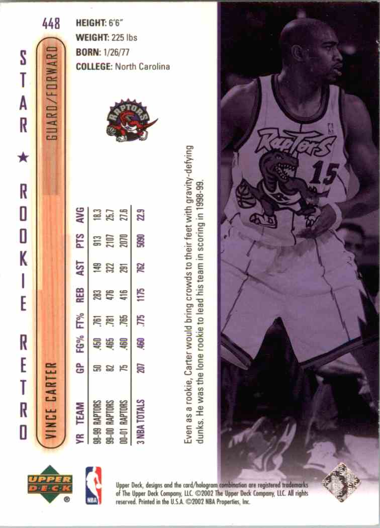2002-03 Upper Deck Star Rookie Retro Vince Carter #448 card back image