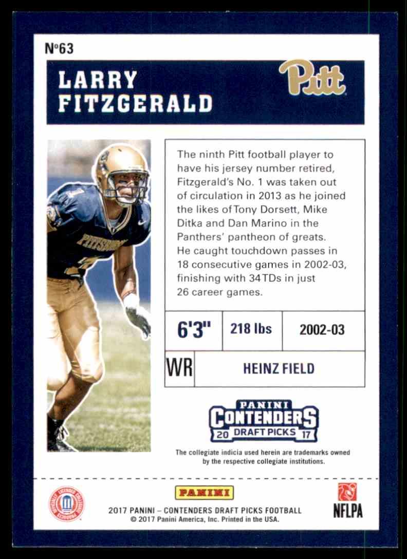 2017 Panini Contenders Draft Picks Larry Fitzgerald #63 card back image