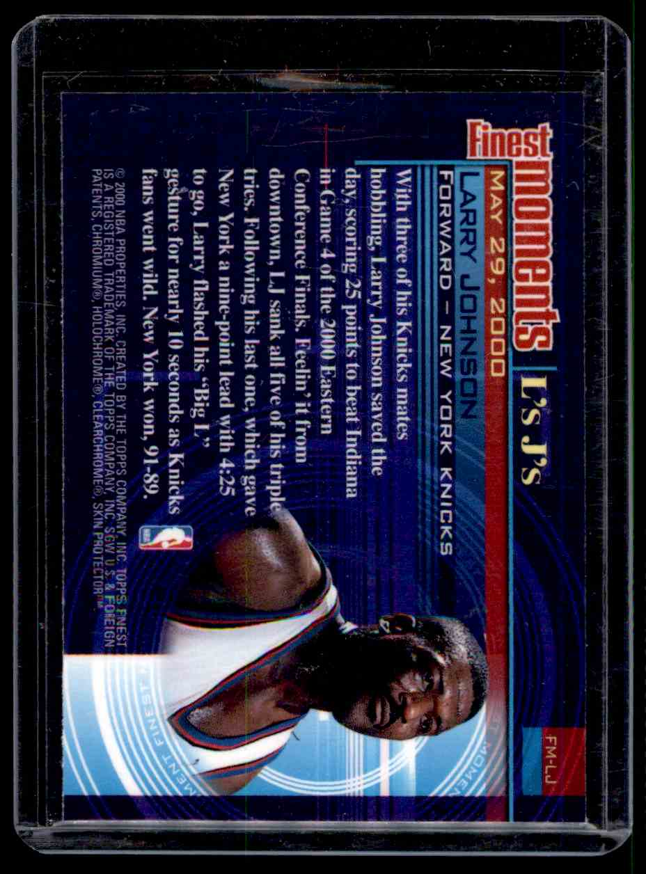 2000-01 Finest Moments Larry Johnson #FMLJ card back image