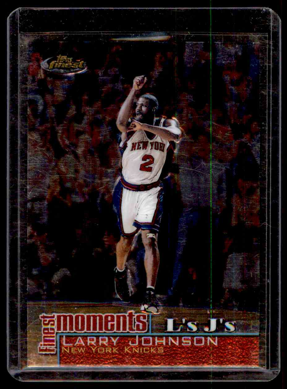 2000-01 Finest Moments Larry Johnson #FMLJ card front image