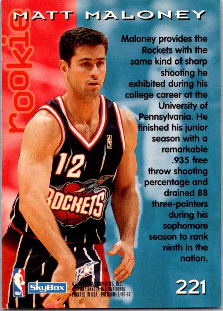 1997-98 Skybox Premium Matt Maloney #221 card back image