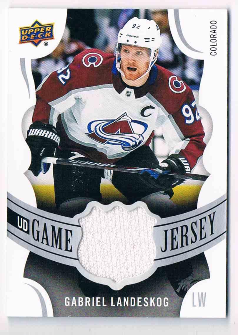 2018-19 Upper Deck UD Game Jersey Gabriel Landeskog #GJ-GL card front image