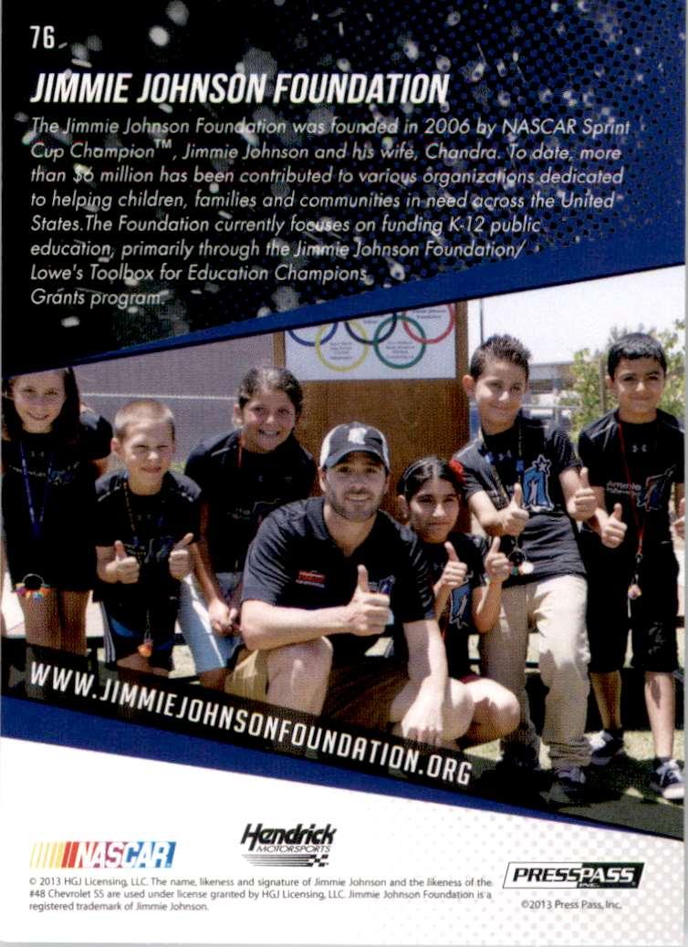 2014 Press Pass Jimmie Johnson Gb #76 card back image