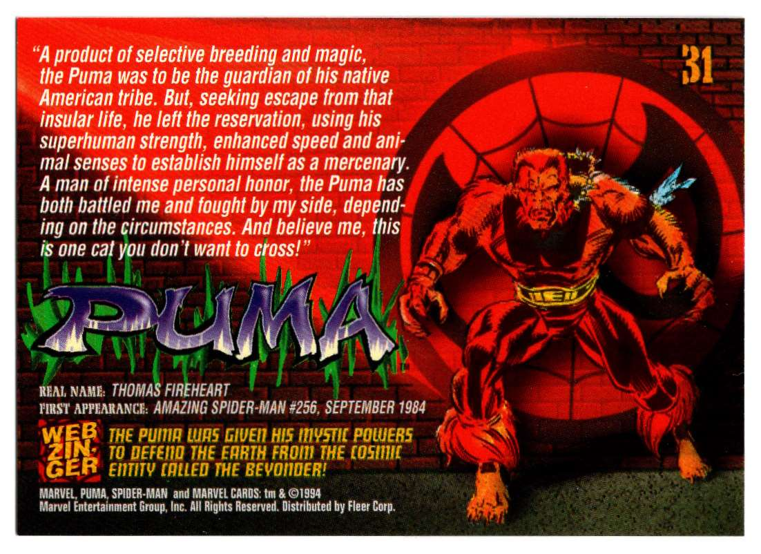 1994 Amazing Spider-Man Puma #31 card back image