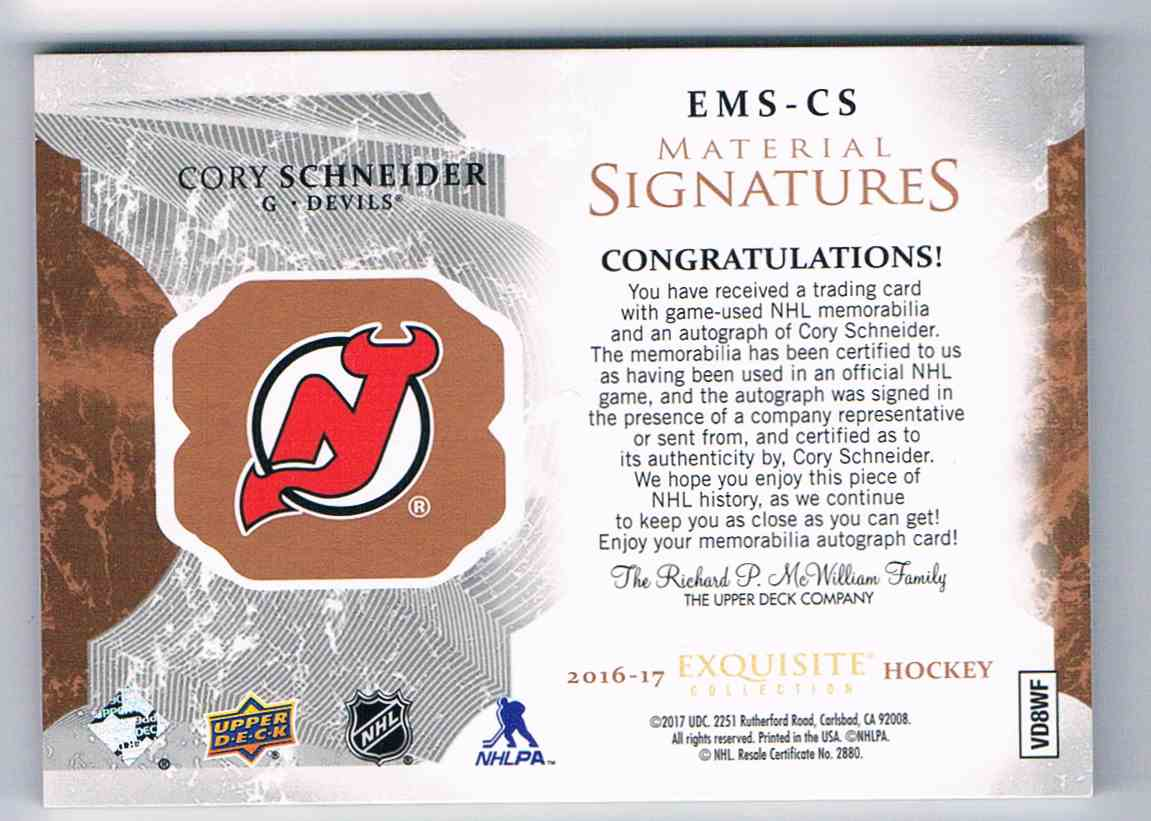 2016-17 Upper Deck Exquisite Collection Material Patch Signatures Cory Schneider #EMS-CS card back image