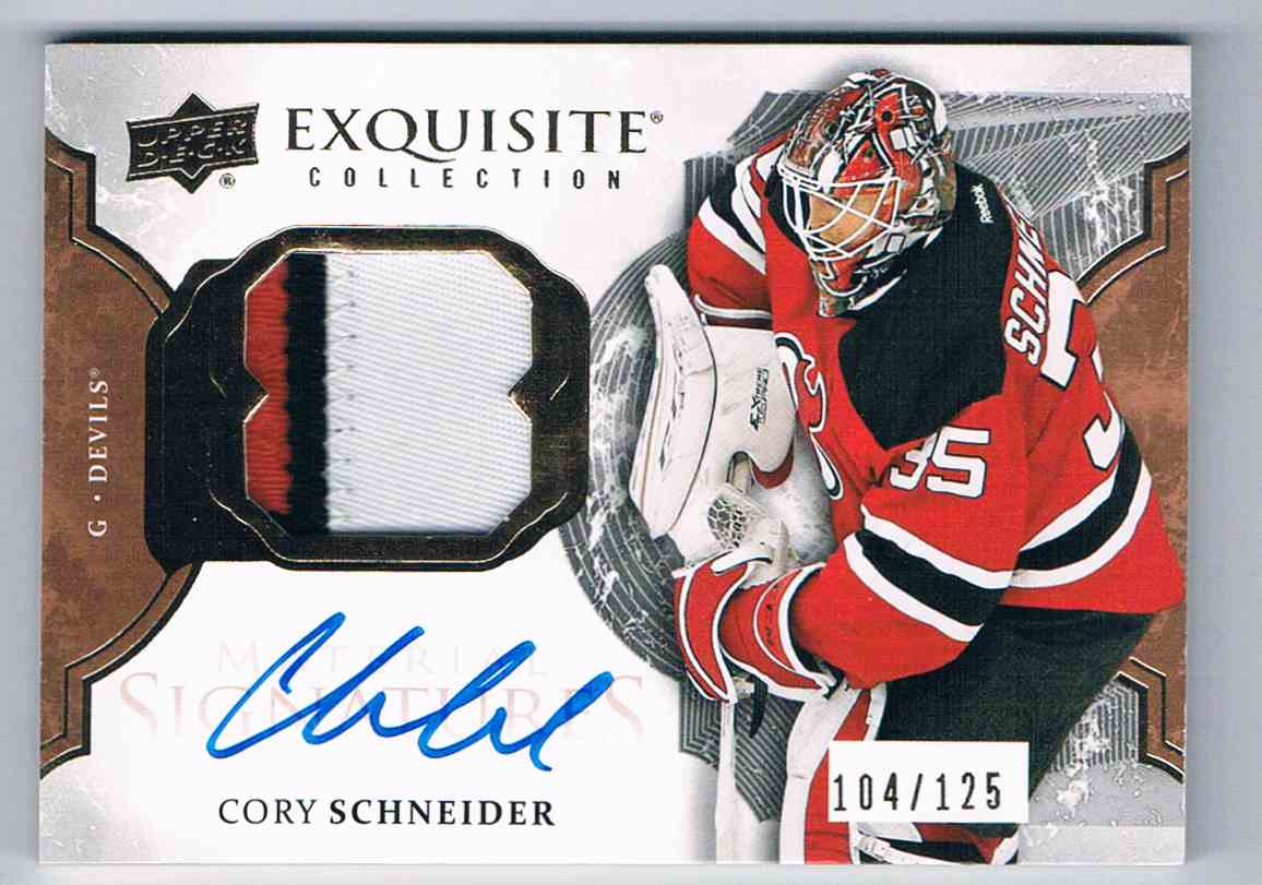 2016-17 Upper Deck Exquisite Collection Material Patch Signatures Cory Schneider #EMS-CS card front image