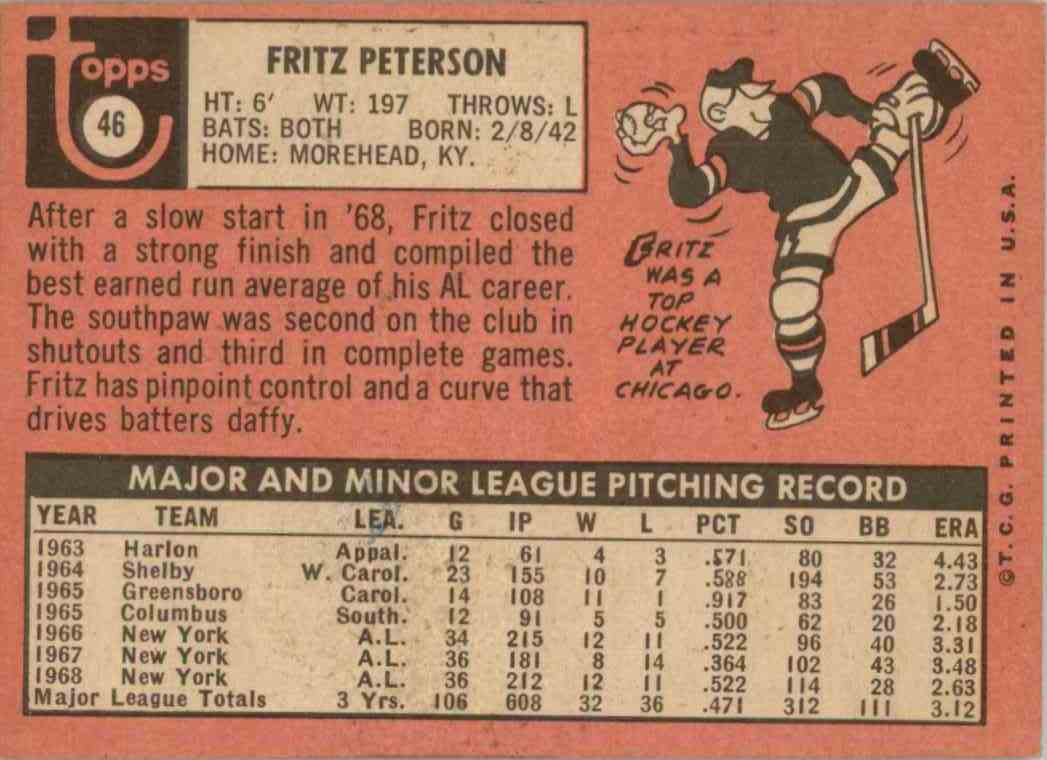 1969 Topps Fritz Peterson #46 card back image