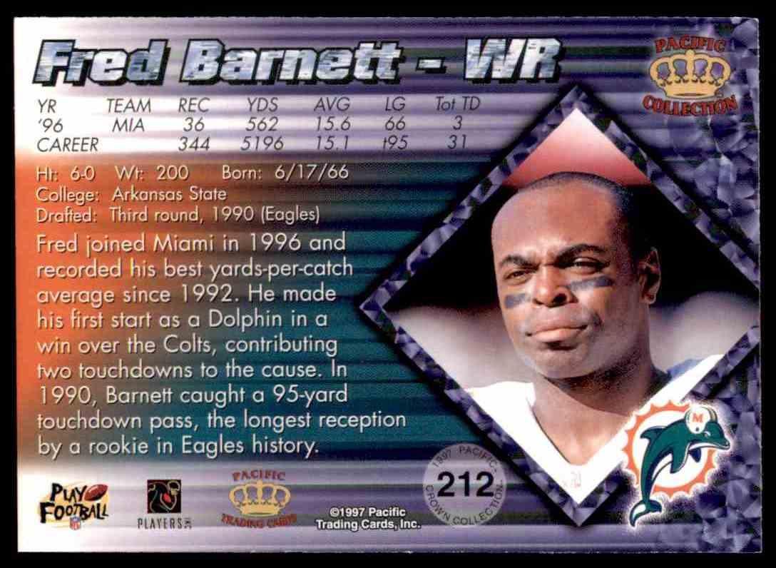 1997 Pacific Fred Barnett #212 card back image