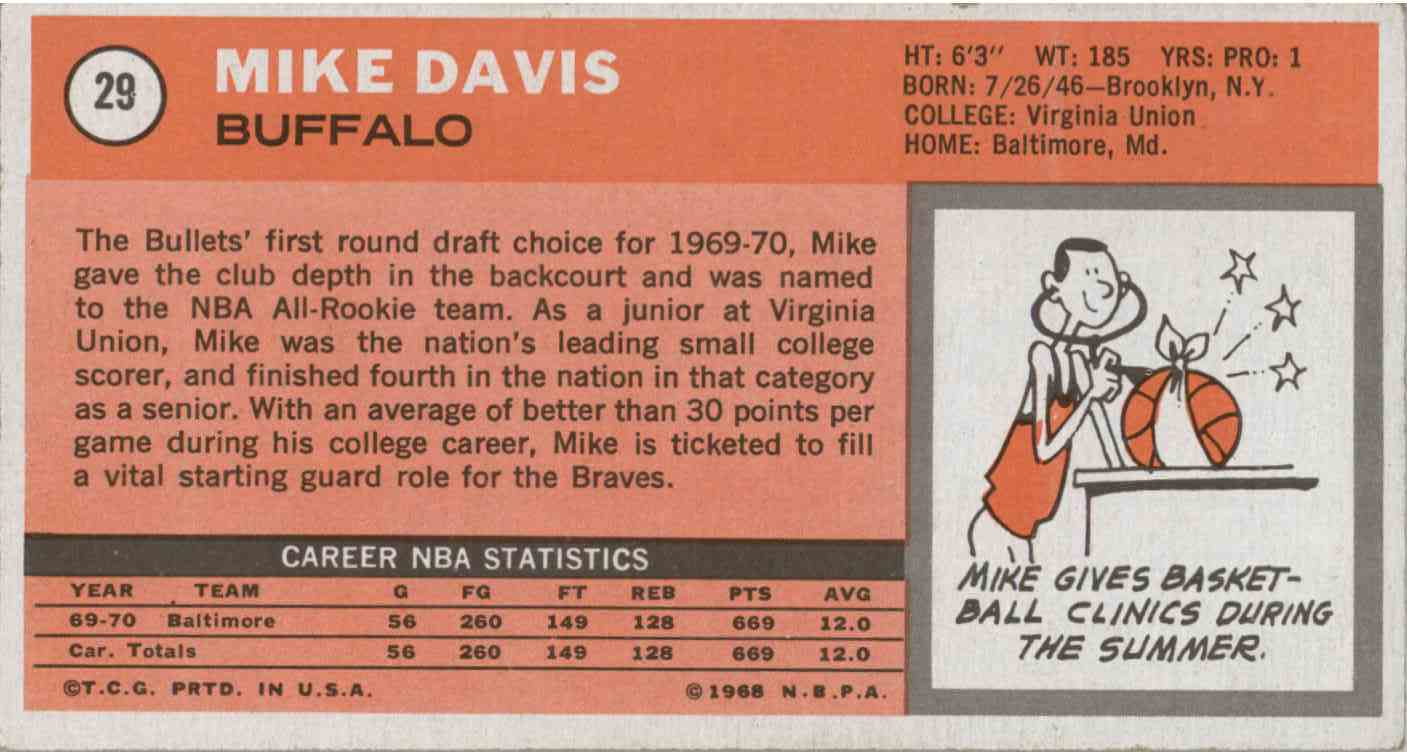 1970-71 Topps Tallboys Mike Davis #29 card back image